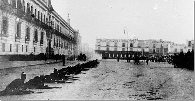 Tropas leales a Madero esperando a las fuerzas de Reyes